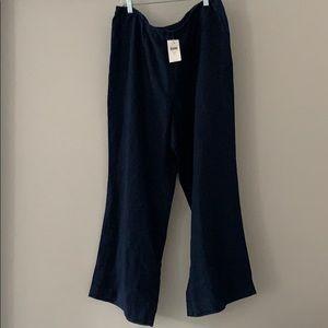 J Jill Linen Pants: Navy Blue